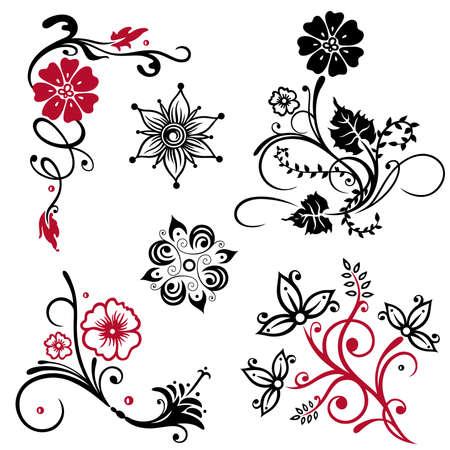 Schöne abstrakte Blumen Vektor-Set Illustration