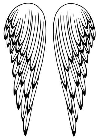 hinge: Large wings filigree angel wings Illustration