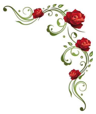 Border mit Blättern und rote Rosen