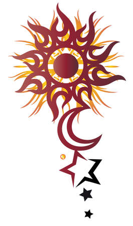 zon en maan: Sun Moon and Stars tattoo