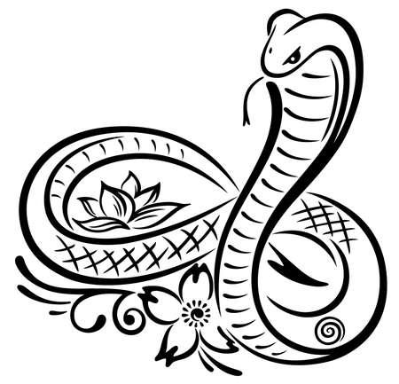 serpiente cobra: Gran serpiente con las flores de cerezo Vectores