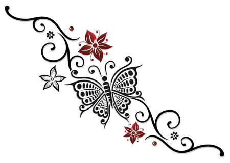 feminine: Large butterfly with many flowers