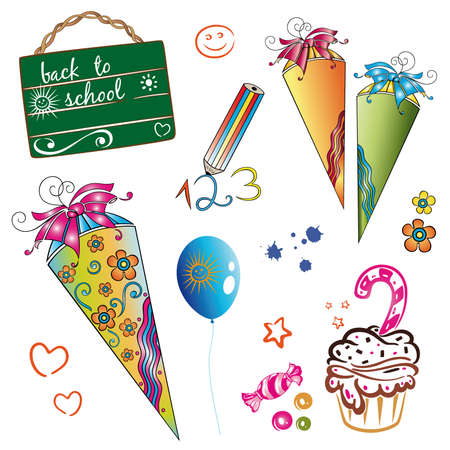 first day of school: Back to school first day of school Illustration
