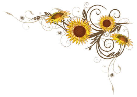 sunflowers: Tendril with sunflowers colorful summer flowers Illustration
