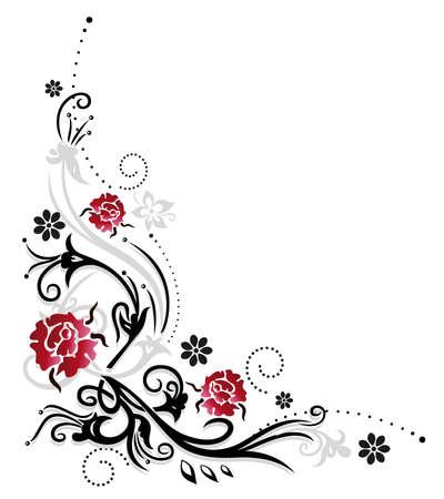 rosas rojas: Zarcillo con rosas rojas coloridas flores de verano