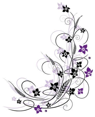 flores moradas: Flores con hierba, púrpura y violeta