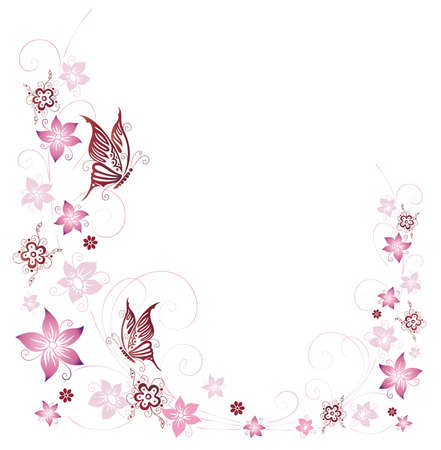 Summer flowers with butterflies Illustration