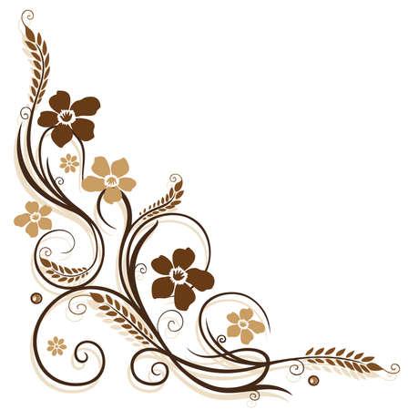 flower border: Flowers with grain, brown border Illustration