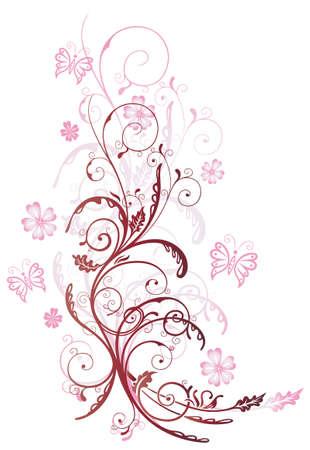 cirrus: Summer flowers with butterflies, pink