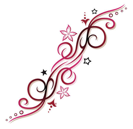 stars: Pink, red Tribal with flowers and stars Illustration