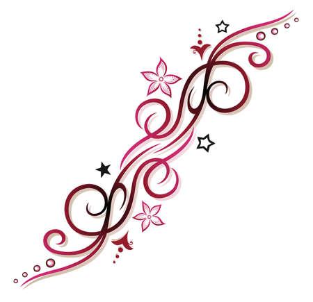 vid: Rosa, tribal rojo con flores y estrellas