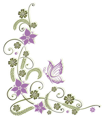 green and purple: Delicate floral motif with butterfly