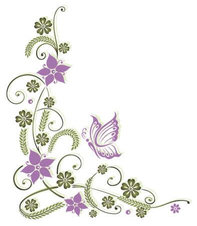 Zarte Blumenmotiv mit Schmetterling Illustration