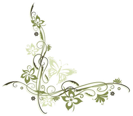 vines: Flowers in olive and green with butterfly Illustration