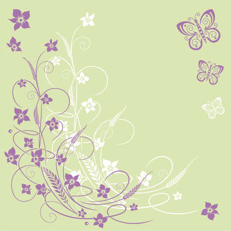 grasses: Filigree flowers with butterflies