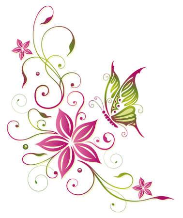 papillon: Grande fleur papillon Illustration