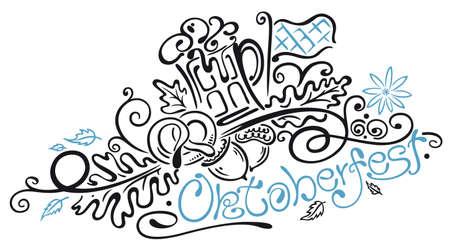 alpine: Oktoberfest, tribal and tattoo style, blue and black