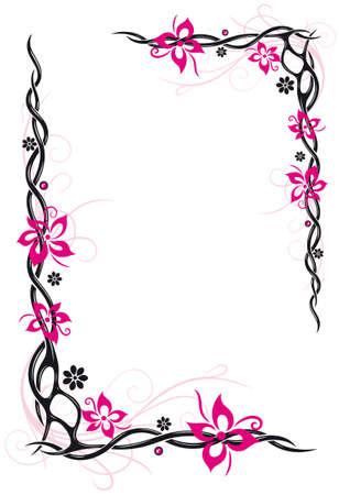 rosa negra: flores abstractas, estilo tribal y el tatuaje, rosa y negro Vectores