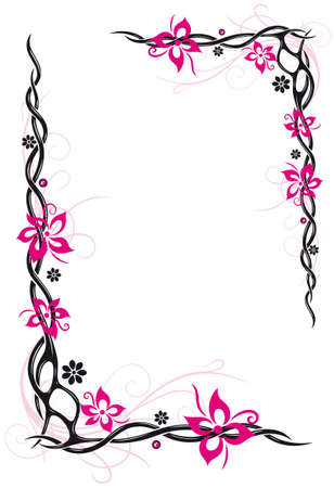 Abstract flowers, tribal and tattoo style, pink and black