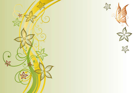 vine and leaves of vine: Filigree flowers with butterflies, autumn background Illustration