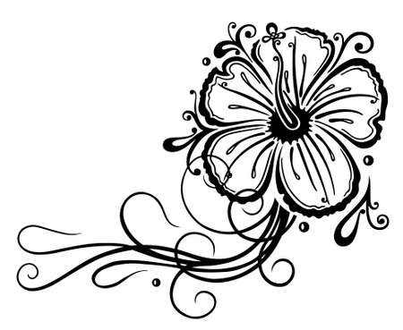 ornaments vector: Filigree hibiscus decoration, black Illustration