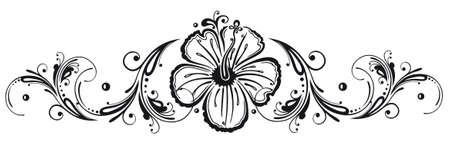 Filigree Hibiskus Dekoration, schwarz