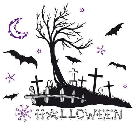 all souls' day: Halloween, creepy night Illustration
