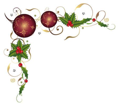 velas de navidad: Zarcillo con bolas de Navidad y el acebo