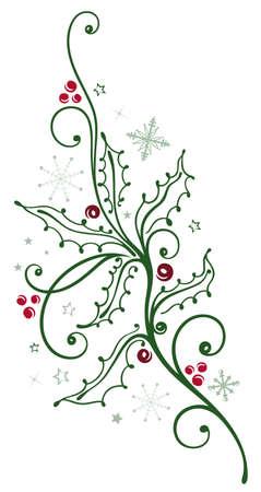 Bunte Holly Zweig mit Beeren, Weihnachtsdekoration Illustration