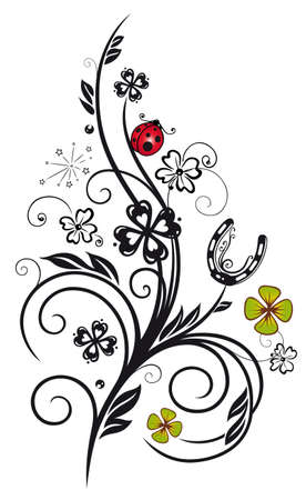sylvester: Sylvester decoration with horseshoe, clover and ladybugs Illustration