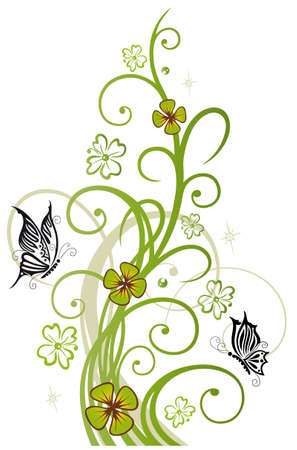 season s greeting: Sylvester decoration with clover and butterflies
