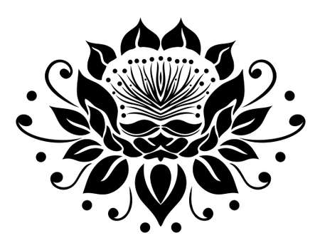 filigree: Filigree lotus flower, black vector