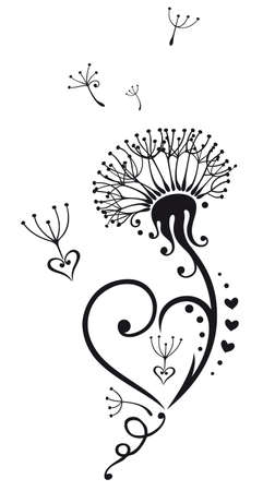 dandelion flower: Dandelion with hearts, Tattoo for Valentines Day