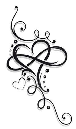 tribales: Corazón y el infinito, Tatuaje para el Día de San Valentín Vectores
