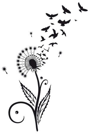tatouage oiseau: fleurs de printemps, le pissenlit avec des oiseaux, décoration florale vecteur Illustration