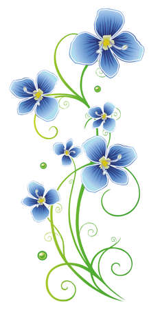 the petal: Blue flowers, floral vector decoration, design element. Illustration