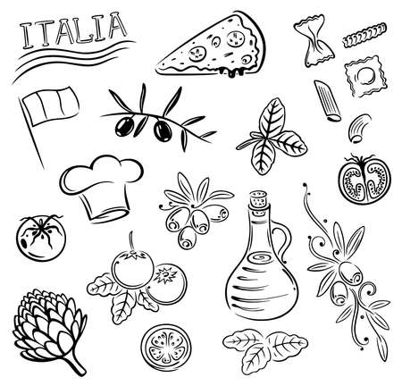 kitchener: Gastronomy and cooking vector set, Italian food.