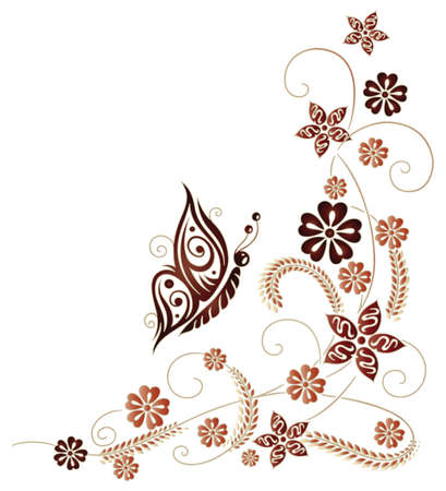 autumn flowers: Autumn flowers and leaves with butterfly, red and brown. Illustration