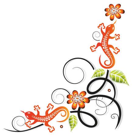 salamandre: Petit lézard tribal, des fleurs et des feuilles, vecteur décoration.
