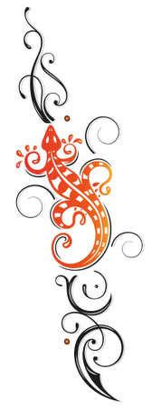 salamandre: Grand lézard avec tatouage tribal, vecteur décoration, noir et orange.