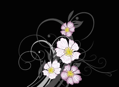 cirrus: Wild rose blossoms with floral flourishes and large cirrus.
