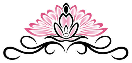 harmony nature: Filigree Lotus flower, floral  rose, yoga style.