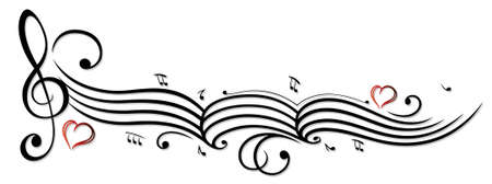sheet music: Music sheet with music notes and clef