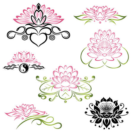 filigree: Filigree Lotus flowers, floral set, yoga style