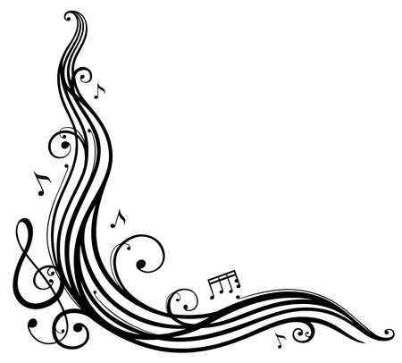 Music sheet with music notes and clef