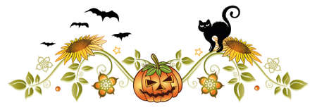 Halloween decoration with pumpkin, black cat, bats and autumn flowers. Illustration