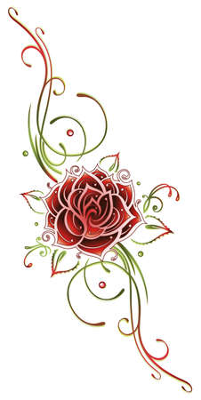 filigree: Red rose with filigree tendril, Tribal. Red and green.