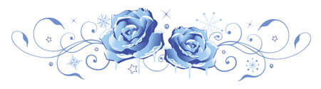 blue roses: Frozen roses, floral winter and Christmas decoration.