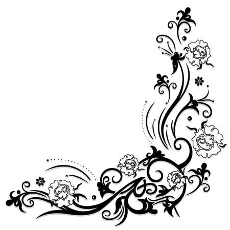 filigree: Filigree tendril with black and white roses with leaves.