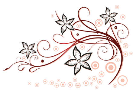 Colorful summertime flowers, red and black vector design.